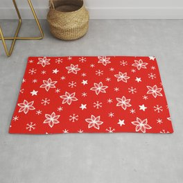 Christmas Red and White Holiday Flower Pattern Rug
