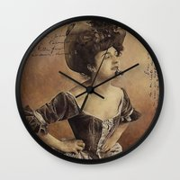 postcard Wall Clocks featuring ''Postcard'' by Nina Petrova