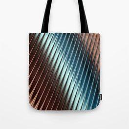 Stripey Pins Teal & Taupe - Fractal Art Tote Bag
