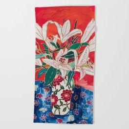 Blush Lily Bouquet on Orange Beach Towel