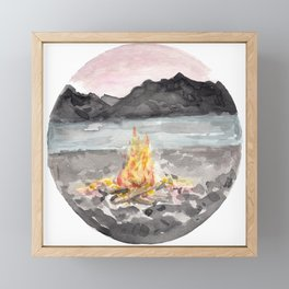 Campfire, Mountain Landscape, Camping Framed Mini Art Print
