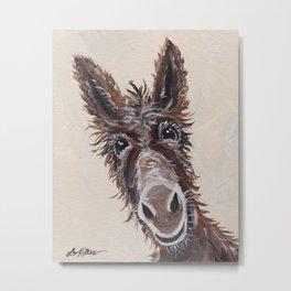 Donkey Art, Cute Donkey Art, Up Close Farm Animal Metal Print