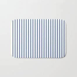 Delphinium Blue Pinstripe on White Bath Mat