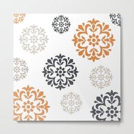 Flowers in Grey and Mustard Metal Print