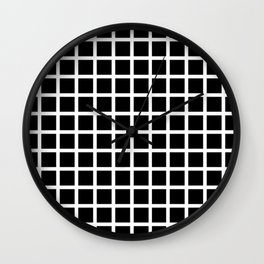 Endless Grid Retro Themed Black and White Design Wall Clock
