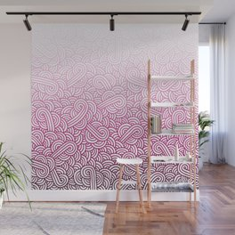 Gradient pink and white swirls doodles Wall Mural