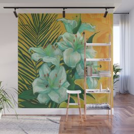 White Lilies and Palm Leaf Wall Mural