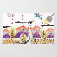 crane Area & Throw Rugs featuring Crane Gang by Brooke Weeber