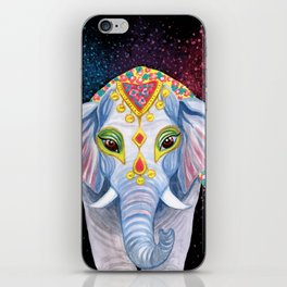 Indian Holi Elephant Watercolor and Acrylic Painting iPhone Skin