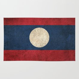 Old and Worn Distressed Vintage Flag of Laos Rug