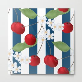 Seamless pattern with cherry and flowers on striped background Metal Print
