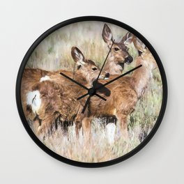 Two Deer, a Fawn and a Flower Wall Clock