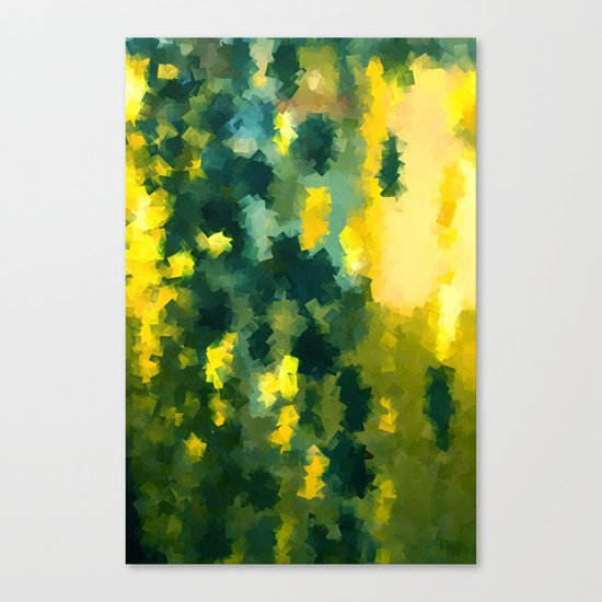 Squares Pattern #Yellow #Green #Mint #2 Canvas Print