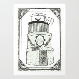 Hatboxes Art Print