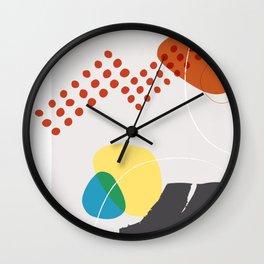 Shape & Hue Series No. 3 – Yellow, Orange & Blue Modern Abstract Wall Clock