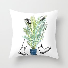 Hiding behind plants in Melbourne Throw Pillow