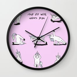 Unicorn Yoga (rose/pink) Wall Clock