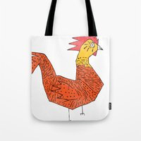 rooster Tote Bags featuring rooster by Matt Edward
