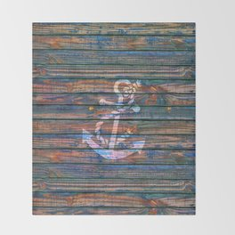 Nautical blue pink watercolor rustic wood white anchor Throw Blanket