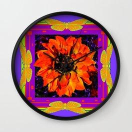Orangey-Red Dahlia Butterly Lilac Pattern Wall Clock