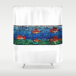 Fishes (white) Shower Curtain