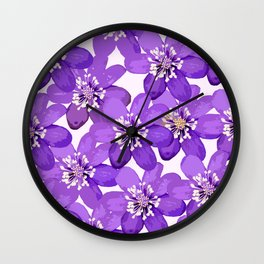 Purple wildflowers on a white background - spring atmosphere Wall Clock