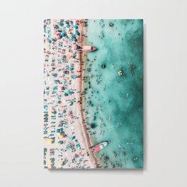 Aerial Beach Print, Large Printable Ocean Waves Wall Art, Teal Coastal Decor, Beach With People Metal Print