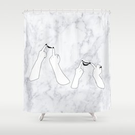 You girls are so pretty, you should smile Marble Shower Curtain