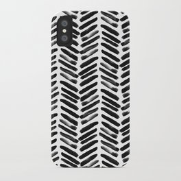 Simple black and white handrawn chevron - horizontal iPhone Case