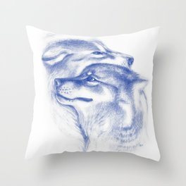 Two Wolves In Blue Art Drawing Throw Pillow