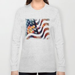 Country Music Guitar And American Flag By Annie Zeno  Long Sleeve T-shirt