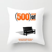 500 days of summer Throw Pillows featuring 500 Days Of Summer by FunnyFaceArt