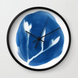 Cyanotype of Bud by Emma Freeman Designs Wall Clock