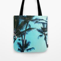 palm trees Tote Bags featuring Palm Trees by Alexandra Str