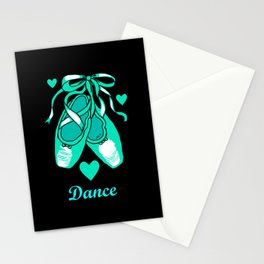 Love to Dance Teal Ballet Shoes Stationery Cards