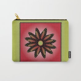 Red Stitched Flower Carry-All Pouch