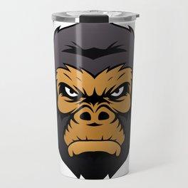 Gorilla Head Cartoon. Travel Mug