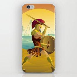 trojan warrior in beach near trireme greek ships iPhone Skin