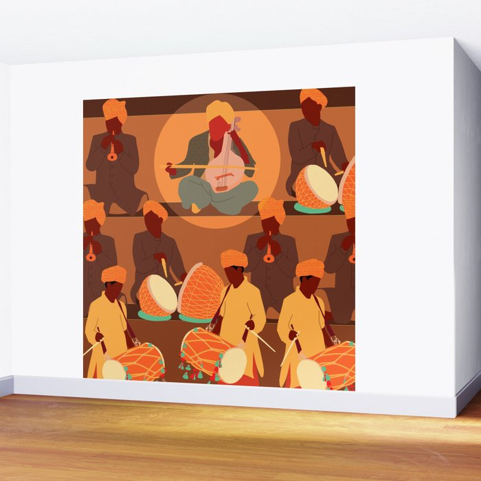 Mid Century Modern Art Indian Music Wall Mural