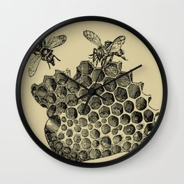 Vintage Bee & Honeycomb Wall Clock
