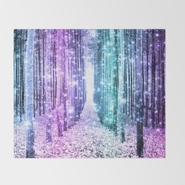 Magical Forest Lavender Aqua Teal Ombre Throw Blanket