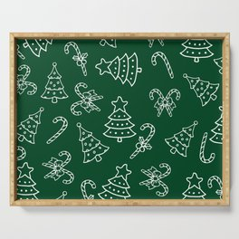 Christmas Forest Green White Candy Cane Tree Serving Tray