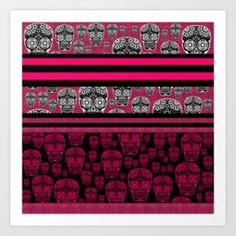 Pink And Black Skulls And Stripes Art Print