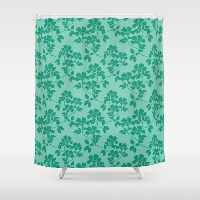 Emerald Green Leaves Shower Curtain By Colorpopdesign