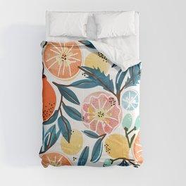 Fruit Shower, Colorful Food Botanical Nature Illustration, Juicy Tropical Garden Orange Jungle Comforters