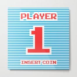Player 1, gamer poster, gamer t-shirt, Metal Print
