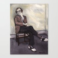 woody allen Canvas Prints featuring Woody Allen by Melinda Hagman