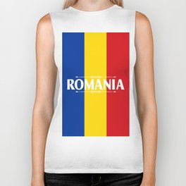 Romania Country Flag Colors and Text - red, yellow, blue Biker Tank