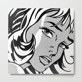 Girl with Hair Ribbon B&W Metal Print