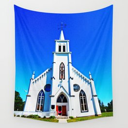 White Church Wall Tapestry